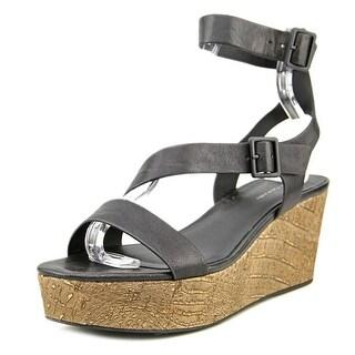 Elie Tahari Mustique Women  Open Toe Leather Black Platform Sandal