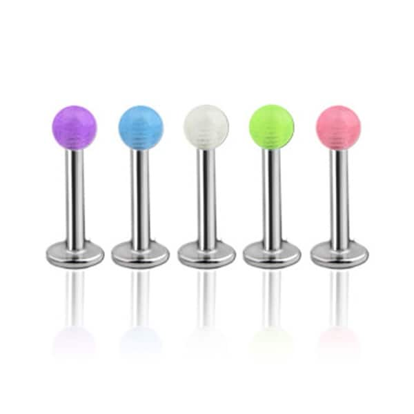 "Steel Labret, Monroe, Tragus or Cartilage with Glow in the Dark Ball - 16GA 5/16"" Long (Sold Ind.)"
