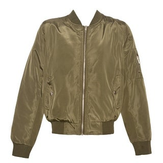 Mini Moca Girls Olive Fur Lined Full Zipper Trendy Bomber Jacket