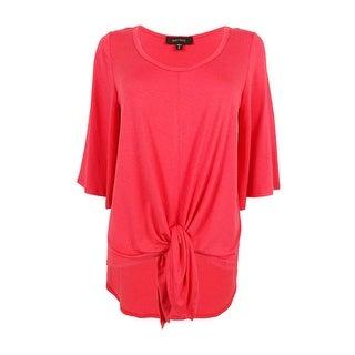 Karen Kane Women's Flare Sleeve Knot Top (M, Coral) - Coral - m