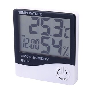 Unique Bargains Plastic Indoor Outdoor LCD Digital Thermometer Humidity Hygrometer Clock