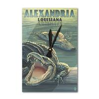 Alexandria, LA - Alligators - LP Artwork (Acrylic Wall Clock) - acrylic wall clock