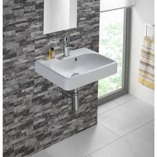 """Bissonnet Smyle 45 Smyle 17-11/16"""" Vitreous China Wall Mounted Bathroom Sink with Single Faucet Hole and Overflow - White"""