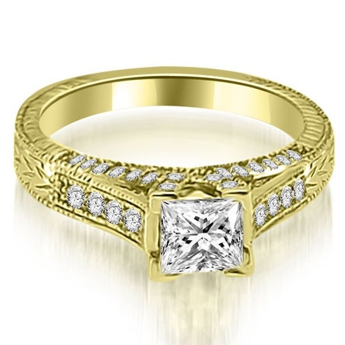 0.90 cttw. 14K Yellow Gold Antique Princess Cut Diamond Engagement Ring