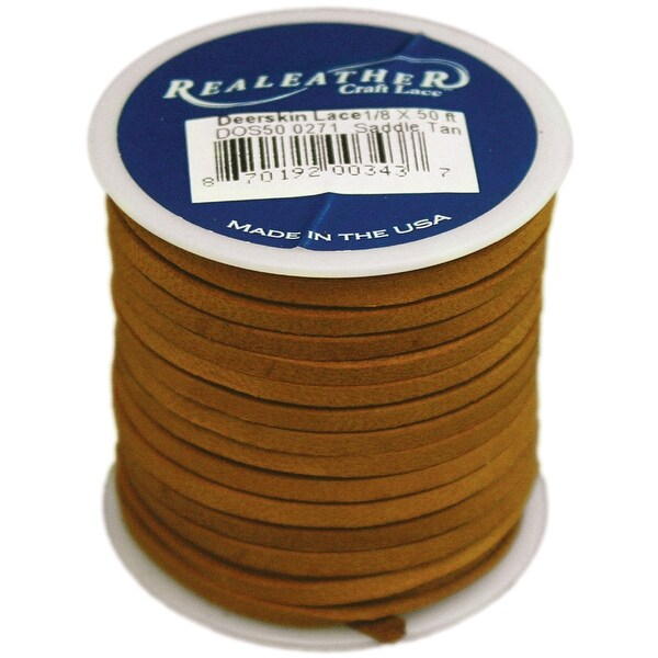 "Deerskin Lace .125""X50' Spool-Saddle Tan - beige"