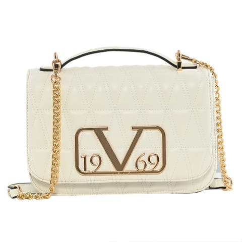 19V69 ITALIA by Alessandro Faux Leather Crossbody Bag Chain Strap - 10.5x2.3x6.5 inches