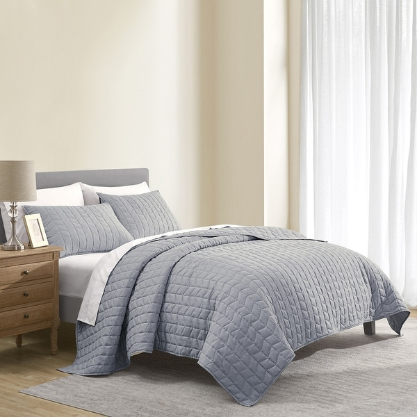 Wonderful Brushed Microfiber Flannel Heathered Quilt Set. Opens flyout.