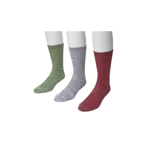 Muk Luks Socks Mens Microfiber Marl 3 Pack One Size Red Multi 00 - One size