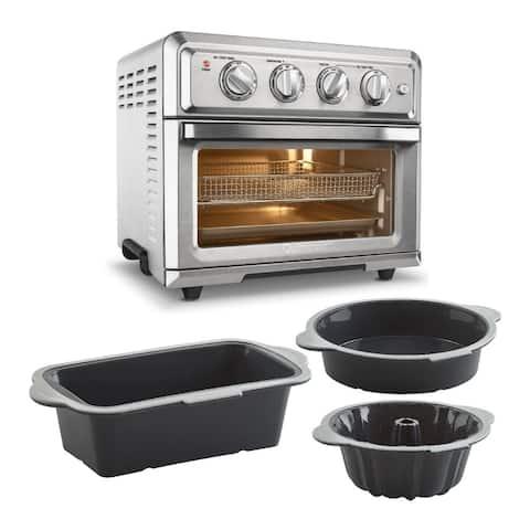 Cuisinart TOA-60 Air Fryer Toaster Oven (Silver) w/ 3-Piece Baking Set