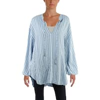 Free People Womens Tunic Top Bishop Sleeves Striped