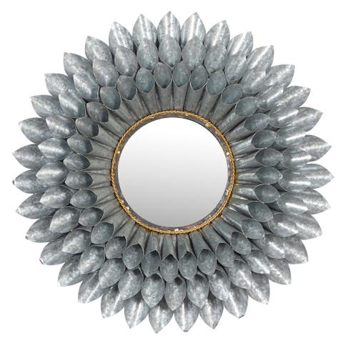 "Large, Round 3D Silver Metal Floral Accent Mirror, 32"" - Multi - 32 x 4 x 32Round"