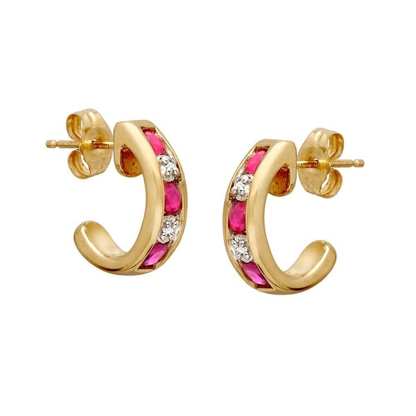 1/2 ct Natural Pink Sapphire Half-Hoop Earrings with Diamonds in 10K Gold