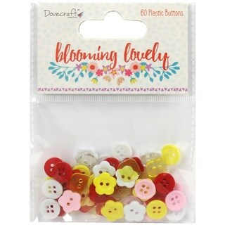 Trimcraft Dovecraft Blooming Lovely Plastic Buttons - 60 per Pack