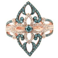 Prism Jewel 0.98Ct Ice-Blue Color Diamond with Natural Diamond Fancy Designer Ring, Rose Gold - Blue/White G-H