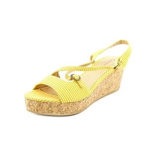 Coconuts By Matisse Castaway Women  Open Toe Canvas Yellow Wedge Sandal