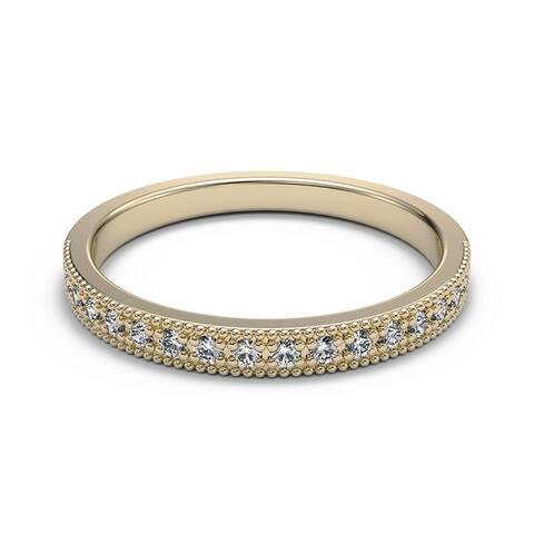 1/20 CT Round Cut Petite Milgrain Diamond Antique Wedding Band in 14KT
