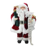 """24"""" Standing Santa Claus with Naughty or Nice List and Bag of Presents Christmas Figure - RED"""