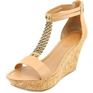 Kenneth Cole Reaction Sole Stopper SO Women Open Toe Synthetic Tan Wedge Sandal