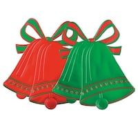 Club Pack of 24 Green and Red Foil Christmas Bell Silhouette Decorations 16.5""