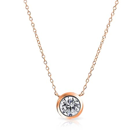 Bling Jewelry Rose Gold Plated .925 Silver Rolo Chain Necklace Solitaire CZ