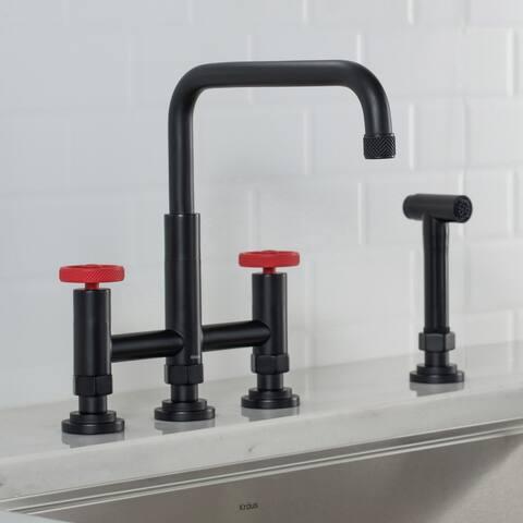 Kraus KPF-3125 Urbix Industrial Bridge Kitchen Faucet w/ Side Sprayer