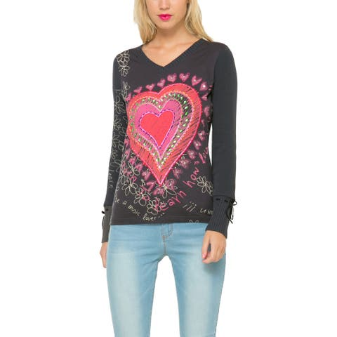 Desigual V-Neck Embroidered with Hearts Long Sleeve Shirt, Black, Y