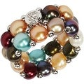 D'AMA Womens 2 Strand Freshwater Cultured Pearl Stretch Ring With Stainless Steel Beads - Thumbnail 5