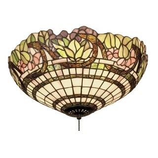 "Meyda Tiffany 47608 Handel Grapevine 3 Light 15"" Wide Flush Mount Ceiling Fixture with Tiffany Glass Shade"