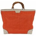 Gucci 338964 Large Orange Straw Leather Bamboo Handle Purse Tote Shopper - Thumbnail 0