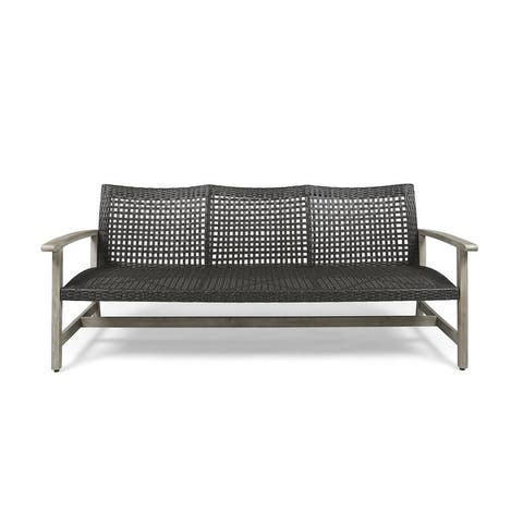Hampton Outdoor Wood and Wicker Sofa by Christop