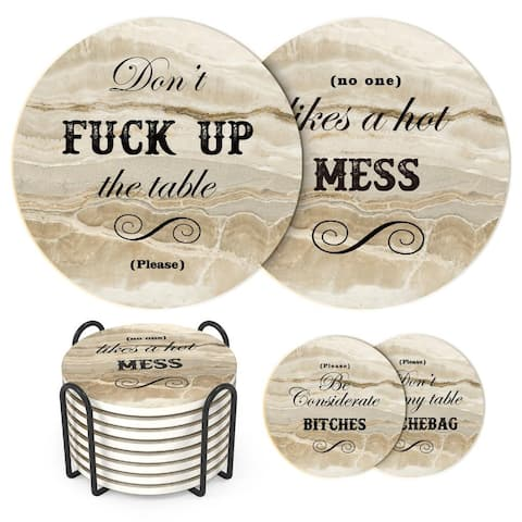 LIFVER Funny Coaster Set with Holder, 8 Packs Absorbent Coasters with Holder
