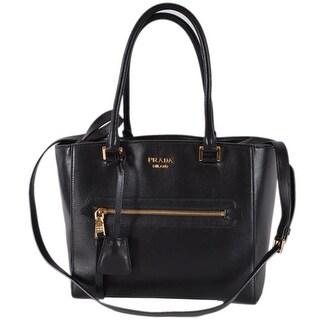 Prada 1BG227 Black Glace Leather Medium Convertible Purse Handbag Tote