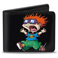 Chuckie Running Pose + Saturn Black Bi Fold Wallet - One Size Fits most