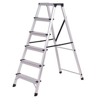 Gymax Folding Aluminum Ladder 6 Step Non-Slip Platform Stool