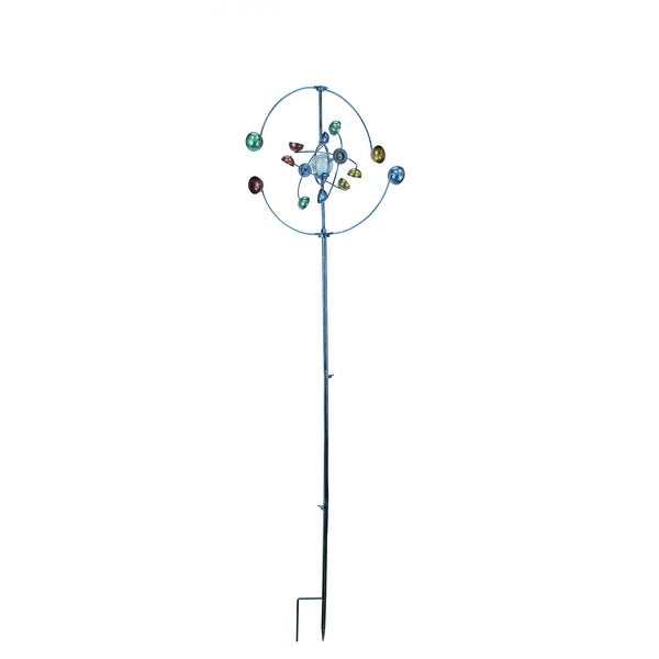 Colorful Geometric Cups Metal Art Garden Twirler Wind Spinner - 62 X 18 X 18 inches
