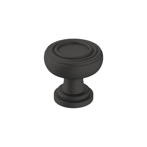 Ville 1-1/8 in (29 mm) Diameter Matte Black Cabinet Knob - 1.125