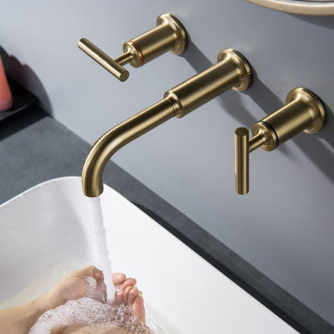 Brushed Gold Two Handle Wall Mount Bathroom Faucet