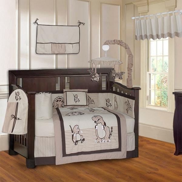 BabyFad Dinosaur Brown 10 Piece Baby Crib Bedding Set