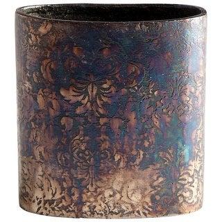 "Cyan Design 08961  Inscribed 5-3/4"" Wide Aluminum Vase - Bronze Patina"