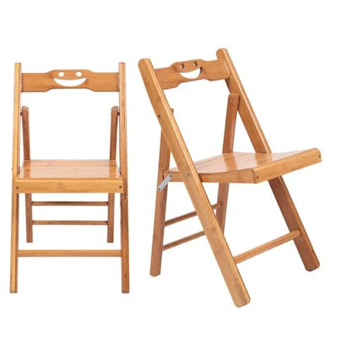 2 Pcs Smiley Folding Dining Chair for Kids Burlywood