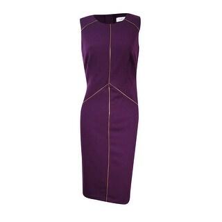 Calvin Klein Women's Zipper-Seam Sheath Dress - Aubergine