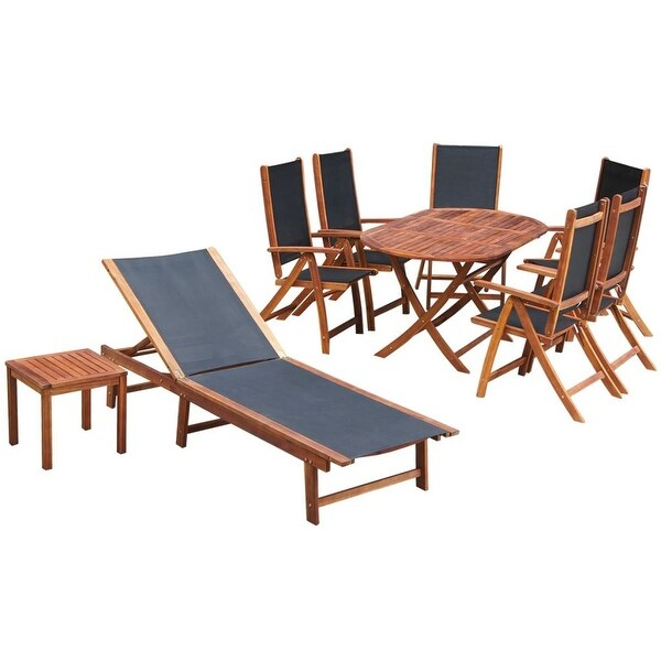Vidaxl outdoor dining set 9 pieces acacia wood textilene free vidaxl outdoor dining set 9 pieces acacia wood textilene workwithnaturefo