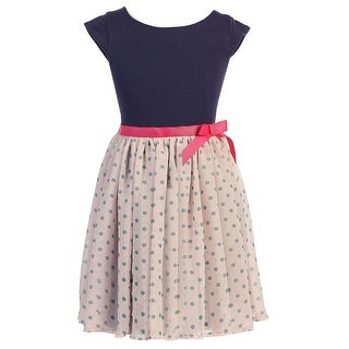 Little Girls Navy Pink Dot Chiffon Flower Girl Dress 2T-6