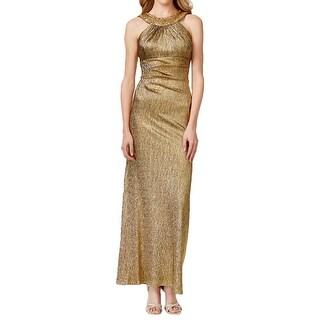 Xscape Womens Petites Evening Dress Metallic Halter