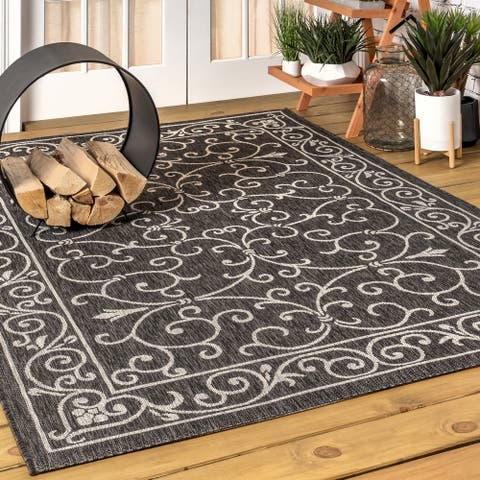 JONATHAN Y Charleston Vintage Filigree Textured Weave Indoor/Outdoor Area Rug