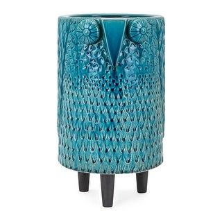 Ceramic Owl Vase with Legs, Blue and Black