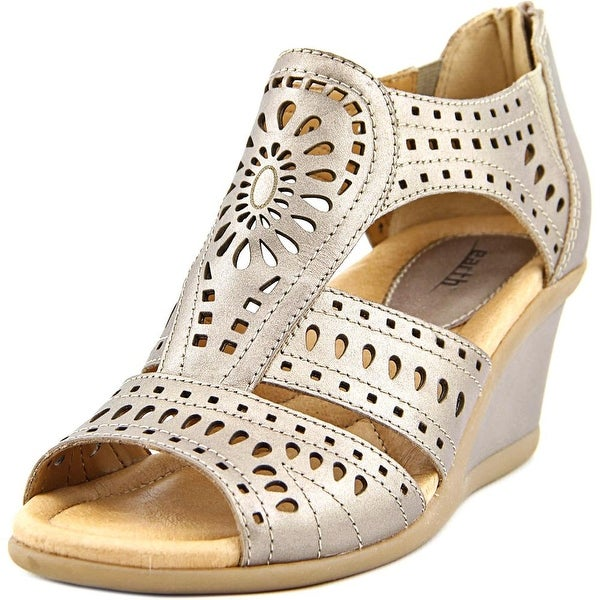 Earth Crown Women Open Toe Leather Gold Wedge Sandal