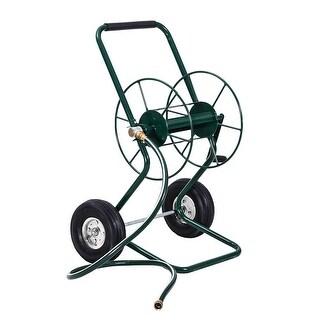 Gymax Garden Wheeled Hose Reel Cart Steel Frame Hose Truck Outdoor Water Planting