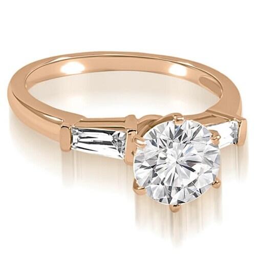 1.10 cttw. 14K Rose Gold Round Baguette Three Stone Diamond Engagement Ring
