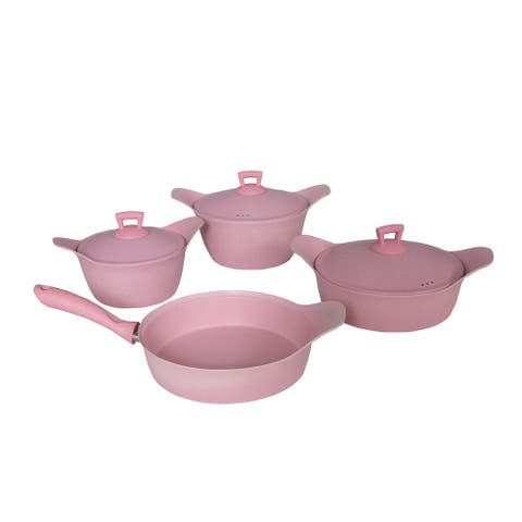 SavaHome Granite Cookware Set, 7 pcs, Pink